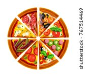 pizza from different slices top ... | Shutterstock .eps vector #767514469