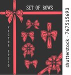 set of hand drawn bows.... | Shutterstock .eps vector #767515693