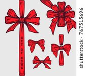 set of hand drawn bows.... | Shutterstock .eps vector #767515696