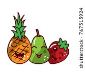 fruit kawaii icon image  | Shutterstock .eps vector #767515924