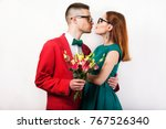 hipster couple in love with a... | Shutterstock . vector #767526340