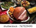 xmas holiday dinner setting... | Shutterstock . vector #767529490