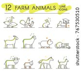 farm animals line icons. flat... | Shutterstock .eps vector #767530510