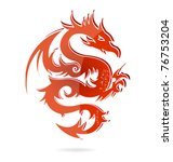 Japan Dragon Sign Isolated