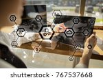 iot  automation  industry 4.0.... | Shutterstock . vector #767537668