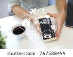 online insurance on virtual... | Shutterstock . vector #767538499