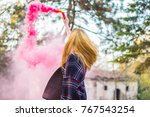 beautiful girl with colored... | Shutterstock . vector #767543254