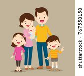 cute family  standing portrait. ... | Shutterstock .eps vector #767558158