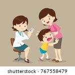 doctor take vaccine for kid.... | Shutterstock .eps vector #767558479