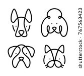 set of pets. vector art line... | Shutterstock .eps vector #767563423