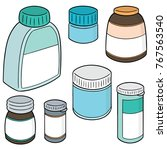 vector set of medicine bottle | Shutterstock .eps vector #767563540