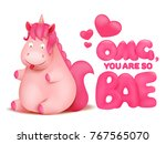 cute pink emoticon unicorn... | Shutterstock .eps vector #767565070