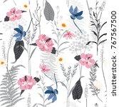 hand drawn vector seamless... | Shutterstock .eps vector #767567500