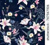 Trendy  Floral Pattern In The...