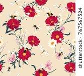 blooming flowers seamless... | Shutterstock .eps vector #767567524