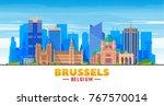 brussels  belgium  skyline with ... | Shutterstock .eps vector #767570014
