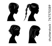 pretty girls silhouettes | Shutterstock .eps vector #767570389