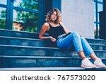 portrait of serious female... | Shutterstock . vector #767573020