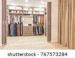 modern wooden wardrobe with...   Shutterstock . vector #767573284