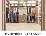 modern wooden wardrobe with... | Shutterstock . vector #767573299