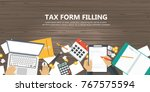 tax payment. government  state...   Shutterstock .eps vector #767575594