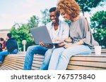successful afro american best... | Shutterstock . vector #767575840