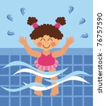 a small child swims in the pool | Shutterstock .eps vector #76757590