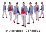 seven poses of a young fashion... | Shutterstock . vector #76758511