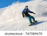 Freeride Snowboarder Rolls On A ...