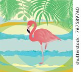 flamingo pink   abstract... | Shutterstock . vector #767589760