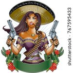 Mexican Girl With Pistols ...