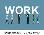 business people holding work | Shutterstock .eps vector #767595940