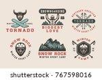 set of vintage snowboarding ... | Shutterstock .eps vector #767598016