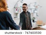 businessman meeting his new... | Shutterstock . vector #767603530