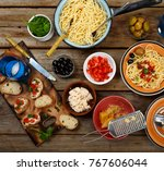 traditional italian food. pasta ... | Shutterstock . vector #767606044
