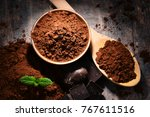 composition with bowl of cocoa...   Shutterstock . vector #767611516
