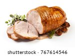 roasted pork with sauce and... | Shutterstock . vector #767614546