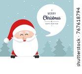 santa claus banner merry... | Shutterstock .eps vector #767618794