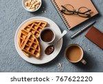 coffee break in the workplace....   Shutterstock . vector #767622220