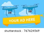 drones with ads banner flying... | Shutterstock .eps vector #767624569
