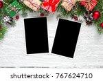 christmas blank photo frames... | Shutterstock . vector #767624710
