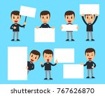 set of man with blank white...   Shutterstock .eps vector #767626870