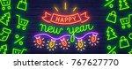 lettering neon sign. merry... | Shutterstock .eps vector #767627770