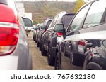 cars for sale stock lot row.... | Shutterstock . vector #767632180