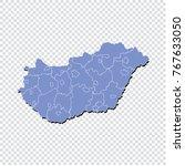 hungary map.high detailed blue...   Shutterstock .eps vector #767633050