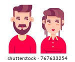 man and woman avatar profile in ... | Shutterstock .eps vector #767633254