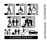 basic vector elevator icon set. | Shutterstock .eps vector #767634370