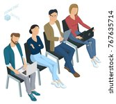 isometric people  briefing ... | Shutterstock .eps vector #767635714