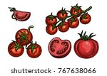 vector set of drawings of... | Shutterstock .eps vector #767638066