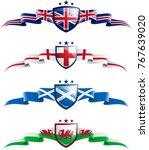 uk patriotic banner set. vector ... | Shutterstock .eps vector #767639020